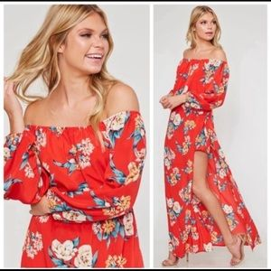 Red floral maxi dress combo romper